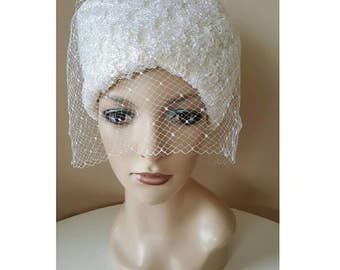 FINAL CLEARANCE Vintage 1960s White Raffia Wedding Bridal Hat with Veil by Harbig Made in England