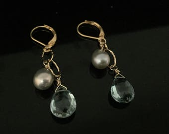 Aquamarine (Quartz) Briollett with Pearl Earrings // Gold Fill // Lever Ear Wires
