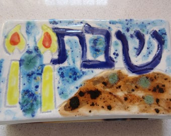 Shabbat Ceramic Match Box Hand Painted Judaica Hand Made in Israel Jewish Holiday Gift Sabbath Candles