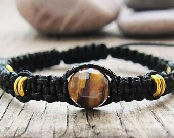 Mens Bracelet Braided bracelet Tiger eye bracelet Beaded Bracelet Single stone bracelet Boho bracelet Gift for men Gift for husband Men gift