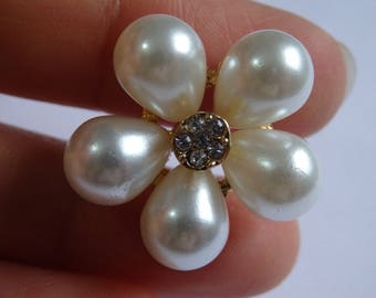 2 crystal buttons pearl rhinestone diamante upholstery gold UK JC10