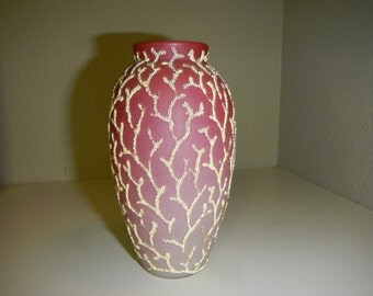 Coralene-decorated Peachblow  Art Glass Vase