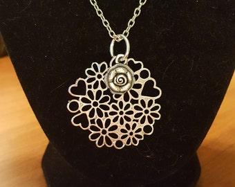 Beautiful Antique Silver Flower Charm or Pendant 41x41mm on a Antique Silver 18 inch Chain with Lobster Clasp