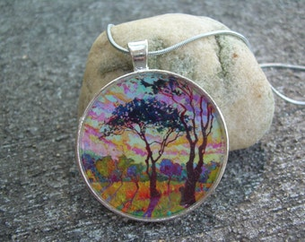 Tree in the sunset resin pendant necklace