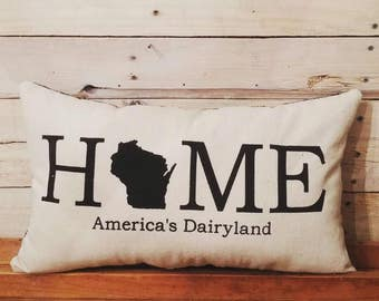 Wisconsin Home Pillow, Americas Dairyland, Farmhouse Pillow, Decorative Pillow, Cheesehead, Accent Pillow