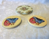 Lot of 3 Small Oval Litho Enamel Tins - Assemblage Mixed Media Supply