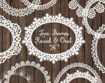 White Round Lace Frames Clipart & Vectors - White Lace Frames, White Vector Lace