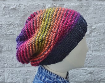 Large Slouchy Hat, Oversize Multicolour Knitted Beanie READY TO SHIP