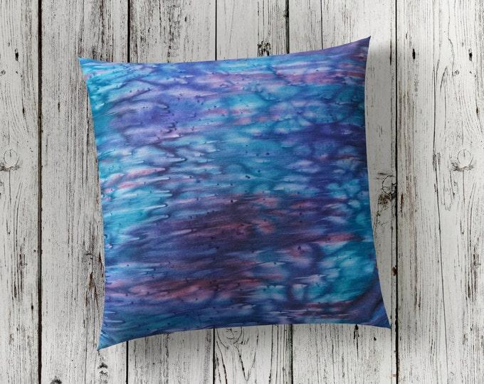 Blue Pillow Cover 18x18-Watercolor Silk Pillow-Navy Blue Pillow-Home Decor Gift-Boho Decor-Nautical Decor-Gift for Him-Watercolor Home Decor
