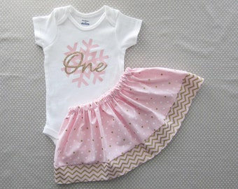 Winter ONEderland First Birthday Outfit in Pink and Gold Dot - twirl skirt, girl birthday, snowflake one, pink gold snowflake