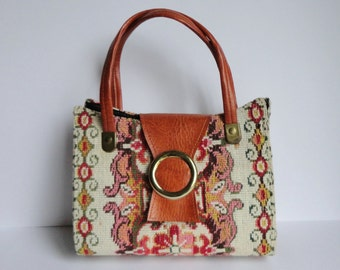 60s Tapestry Vintage Vegan Bag // Cognac Brown Vinyl // Top Handle Bag