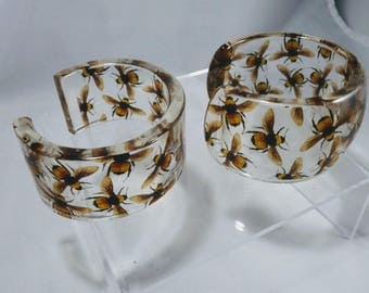 Clear Resin Cuff Bracelets with a Swarm of Bees