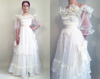 70s Wedding Dress 1970s Vintage Ruffles Bows Ribbon Dot Tulle Frilly Off The Shoulder