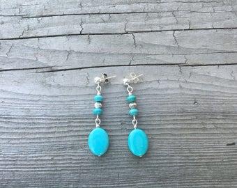 Turquoise  earrings, boho jewelry, spring earrings, festival, coachella, for her, accessories, hoops, chandelier