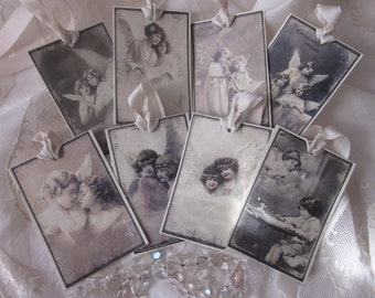 Lovely Vintage Shabby ANGELS White CHRISTMAS Gift TAGS Glitter 8