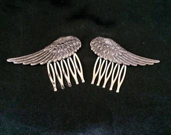 Set Of 2 Silver Metal Hair Combs Featuring Feathered Bird Or Angel Wings