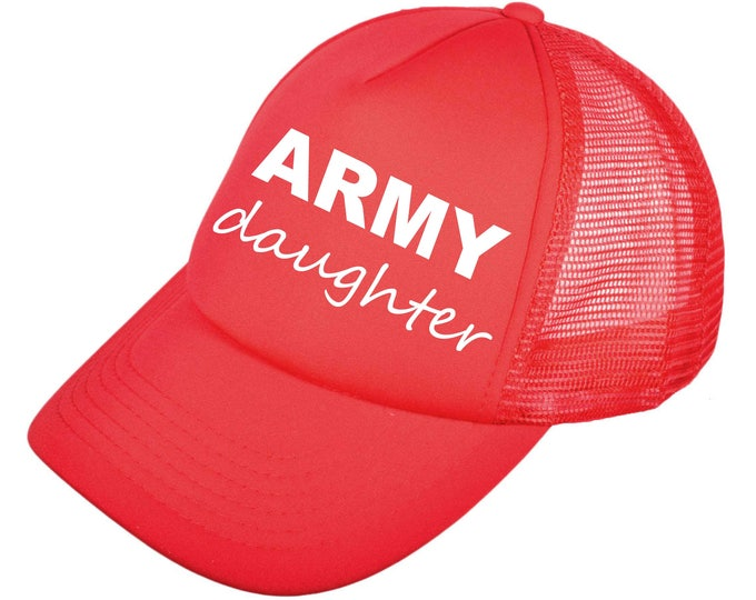 baseball hats - ARMY DAUGHTER . Gym hat - trucker baseball caps - fitness hats  - mesh back hats with snap closure