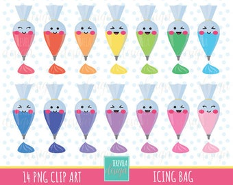 icing bag clipart, frosting bag, baking graphics, commercial use, pipping bag graphics, kawaii icing, cute graphics, party