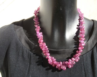 Ruby: natural AA smooth Briolette necklace.