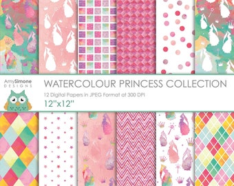 "Watercolour Princess 12""x12"" Digital Papers"