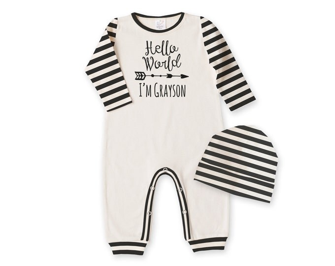 Personalized Newborn Boy Coming Home Outfit, Newborn Boy Outfit, Tesa Babe, Personalized Newborn Outfit, Baby Hello World, Black, TesaBabe