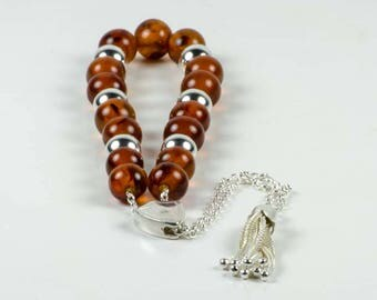 Succinite Brown Natural Baltic Amber Stone Greek Worry Beads Komboloi|15+6 Silver Beads 10x10mm 21.3gr | Sterling Silver 925 Spacer