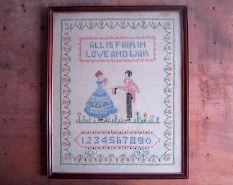 Vintage Sampler, Cross Stitch Sampler, Embroidery Sampler, Vintage Cross Stitch, Vintage Embroidery, Lettering Sampler, Hand Embroidery
