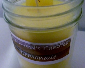 Desmond's Candles Homemade Scented Lemonade Soy Jar Candle