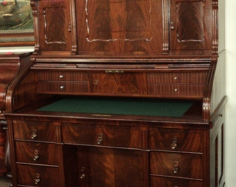 Fabulous Antique German Mahogany Roll Top Desk, circa 1860's