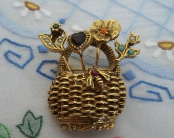 Goldette signed Basket Brooch Pin, Vintage Goldette Basket Brooch