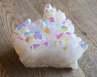 Rainbow Angel Aura Crystal Cluster Aura Stone Spiritual Gift Crystals and Stones Bohemian Decor Rough Rainbow Crystal Cluster