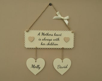"""Personalised Family sign. """"A Mothers heart is always with her children"""" Mothers day sign. Wooden handmade plaque."""