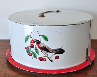 Vintage Maid of Honor Metal Cake Carrier with Lithographed Bird, Red with White, Cake Plate