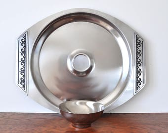 Mid Century Stainless Appetizer and Dip Tray, Chip and Dip, Japan