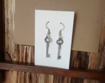 Skelton Key Earrings Silver