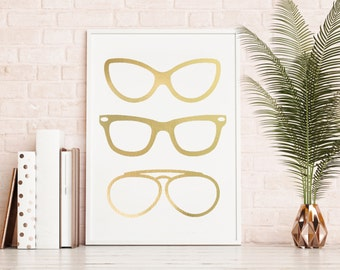 Gold Foil Print, Sunglasses Gold Foil Print, Sunglasses Foil Print, Gold Foil, Chic Decor, Decor, Home Decor, Apartment Decor, Art, Foil