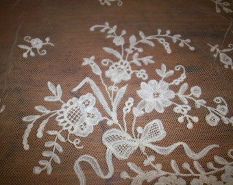 Hand Net lace finely done gorgeous design 1800s heirloom  hand done