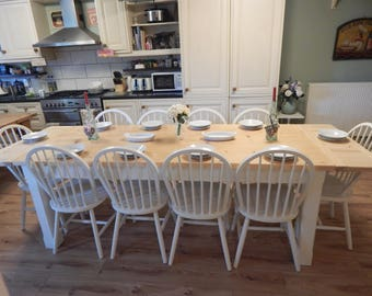 Stunning large solid Pine country Farmhouse table & 10 solid Beech chairs