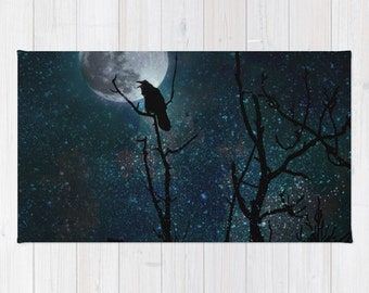 Throw Rug, Area Rug, Gothic Moon Crow Tree