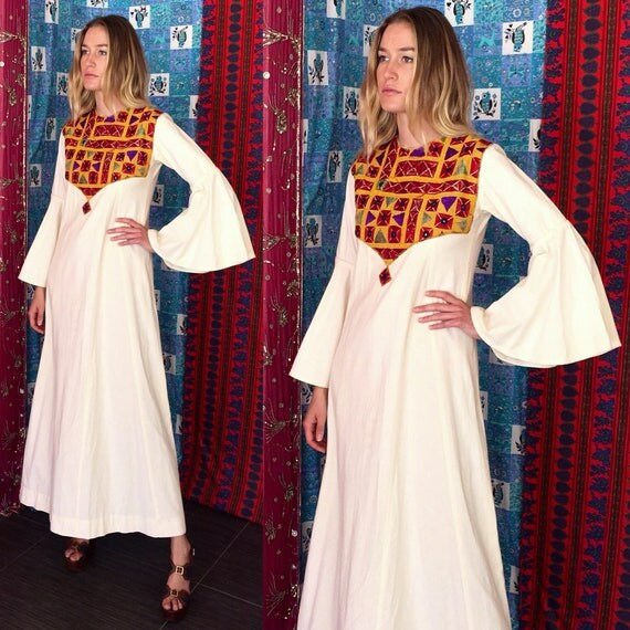 Sale boho mexican dress mexican wedding embroidered dress 70s for Mexican wedding dresses for sale