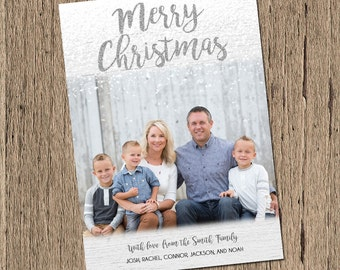 Photo Christmas Card, Personalized Christmas Card, printable holiday card, printable christmas card, christmas photo card, silver, snow
