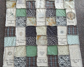 Outlander Themed Rag Quilt #7 with Embroidered Books (all Nine!)