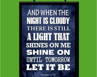 """THE BEATLES """"Let It Be"""" Music Lyrics Collection Wooden Poster Plaque / Sign Handmade with Free UK Delivery"""