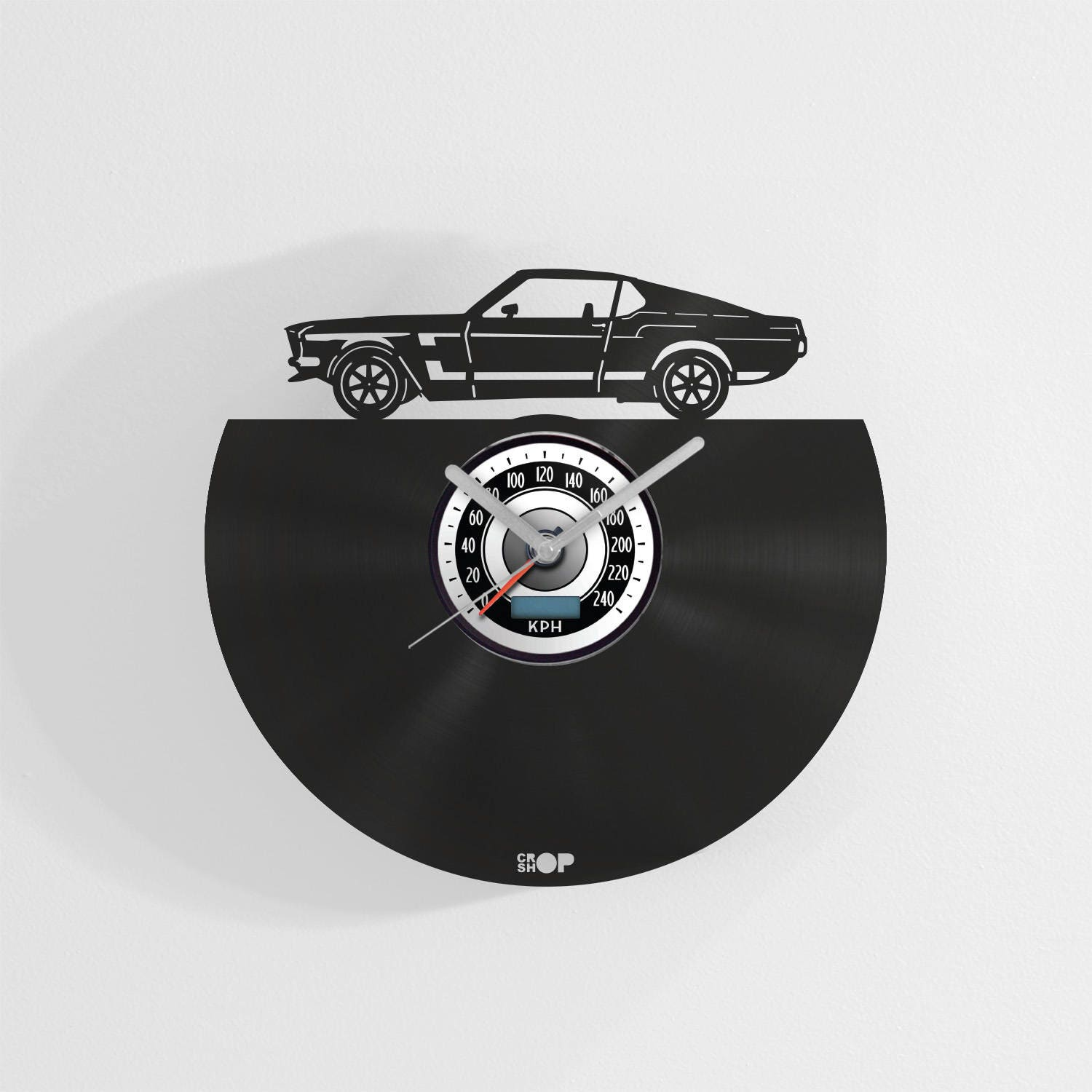 Ford Mustang Wall Clock From Upcycled Vinyl Record Lp Hand Made Gift