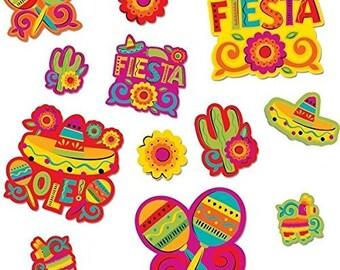 Amazing 30 Pc Set!! Colorful Cinco De Mayo Fiesta Assorted Cutouts - Candy Buffet Backdrop & More!  Beautiful Fun Party Decor