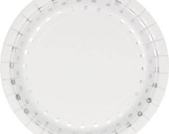 48 Sturdy 7 Inch Disposable Dessert - Appetizer Plates - Sparkly Metallic Silver Dot - Wedding - Anniversary - Birthday - Shower Tableware