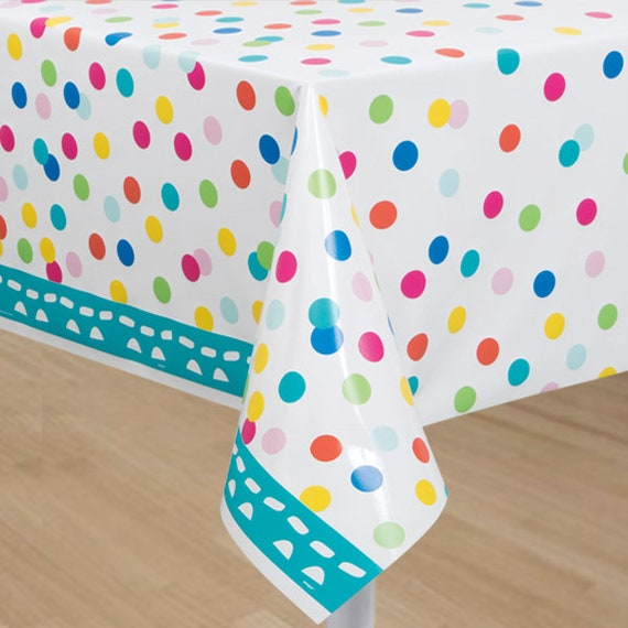 54 X 84 Inch Plastic Dessert Table Cover   Colorful Confetti Tablecloth    Happy Birthday Tableware From Favorboxboutique On Etsy Studio
