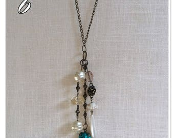 Bronze chain necklace with vintage beads & crystals