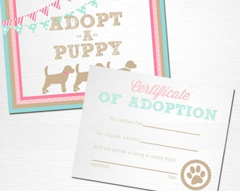 Adopt a Puppy and Certificate of Adoption Pink and Blue Lab Dog Birthday Party YOU PRINT