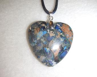 Heart-shaped Dark Blue Sea Sediment Jasper with Pyrite pendant necklace (JO379.1)